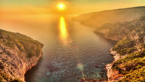 Zakynthos sunset timelapse. Beautiful full HD HDR timelapse video of a summer sunset of the rocky coast of the island of Zakynthos, Greece stock video footage