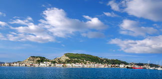 Zakynthos town harbor with boats on Zakynthos island in Greece Royalty Free Stock Photos