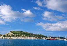 Zakynthos town harbor with boats on Zakynthos island in Greece Royalty Free Stock Photography