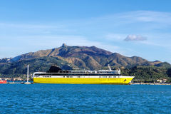 Zakynthos town harbor with ferry on Zakynthos island in Greece Royalty Free Stock Photo