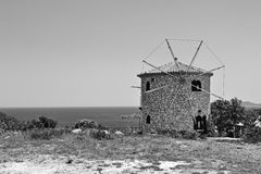 Zakynthos windmill near Skinari cape Stock Photography