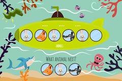 Zal de beeldverhaal Vectorillustratie van Onderwijs de logische reeks kleurrijke dieren op een groene onderzeeër voortzetten Aanp Stock Foto
