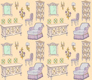 Zala 1 color seamless. Seamless pattern - sketch of furniture for the living room in classic style color orange, beige, viola Royalty Free Stock Photography