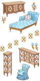 Zala furniture banner 120_240 blue. Doodle,  sketch of a set of furniture  sofa, armchair blue color , woogen shelves, chest of drawers Stock Photos