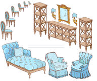 Zala furniture banner 300-250 chair blue. Set hand-painted furniture in a classic style, wooden shelves, sofa, armchair, chairs, banner color blue and brown Royalty Free Stock Photos