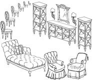 Zala furniture banner 300-250 chair. Doodle,  sketch of a set of furniture, black in white background, banner chest of dravers, sofa, armchairs, chairs, mirror Royalty Free Stock Images