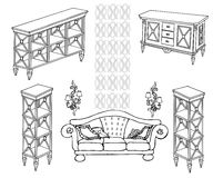 Zala furniture banner 336_280 dec. Outline a set of furniture shelves, chest of drawers, sofa, lamps, black in white background Royalty Free Stock Photo
