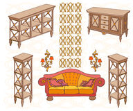 Zala furniture banner 336_280 dec red. Set hand-painted furniture in a classic style, banner  red yellow orange sofa and wooden chast of drawere, lamps Royalty Free Stock Photos