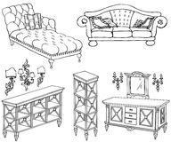 Zala furniture banner 180_150 double sofa. Outline a set of furniture black in white background, shelves, chest of drawers, sofa, couch, lamps Royalty Free Stock Photos