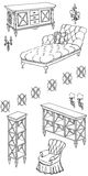 Zala furniture banner 120_240. Outline doodle,  sketch,  set of furniture black in white background, shelves, chest of drawers, sofa, couch, chair, lamps Stock Photography
