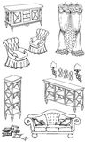 Zala furniture banner 240_400. Outline set hand-painted furniture in a classic style, shelves, chest of drawers, sofa,  armchair, lamps, pillows, curtain, banner Stock Photo