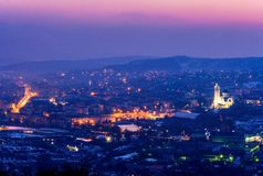 Zalau市, Salaj县,特兰西瓦尼亚,罗马尼亚全景  库存图片
