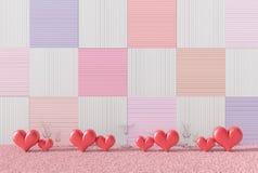 Zalen van Liefde op de Dag van Valentine ` s Achtergrond en binnenland 3d geef terug Royalty-vrije Stock Foto's