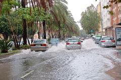 Zalewać ulicy w Malaga, Hiszpania zdjęcie stock