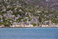 Zalewający antyczny Lycian miasto jako rezultat trzęsienia ziemi miasta obraz royalty free