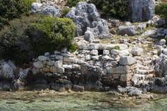 Zalewający antyczny Lycian miasto jako rezultat trzęsienia ziemi miasta fotografia stock