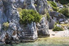 Zalewający antyczny Lycian miasto jako rezultat trzęsienia ziemi miasta obraz stock