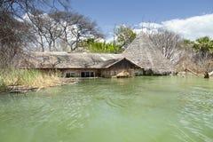 Zalewający kurort przy Jeziornym Baringo w Kenja. obrazy royalty free