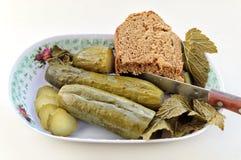 Zalewy z chlebem na talerzu Zdjęcie Royalty Free