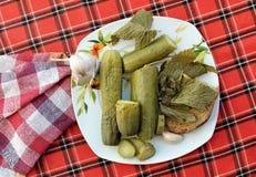 Zalewy z chlebem na talerzu Zdjęcie Stock
