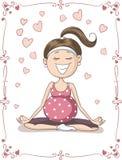 Zalige Zwangere Vrouw die Yoga Vectorbeeldverhaal doen Royalty-vrije Stock Afbeeldingen