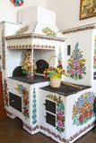 Painted old bake decorated with a hand painted colorful flowers, Zalipie, Poland. ZALIPIE, POLAND - AUGUST 3, 2018: Painted old bake decorated with a hand royalty free stock image