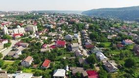 Zalishchyky - aerial view city stock video footage