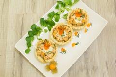 Zalm gebakken tartlet met mozarella Royalty-vrije Stock Foto