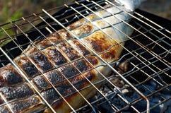 Zalm het koken op een grill stock foto