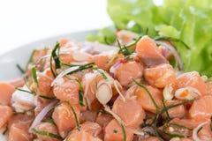 Zalm kruidige die salade met citroengras op witte achtergrond wordt geïsoleerd royalty-vrije stock foto
