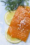 Zalm met citroen, seasalt en dille op heldere blauwe achtergrond Verse samenstelling van voedsel royalty-vrije stock afbeeldingen