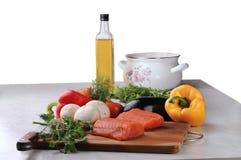 Zalm met groenten en paddestoelen Royalty-vrije Stock Fotografie