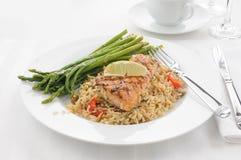 Zalm met rijst Royalty-vrije Stock Fotografie