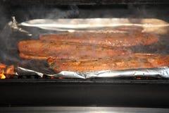 Zalm op de grill Stock Afbeelding