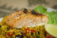 Zalm over gierst Stock Afbeelding