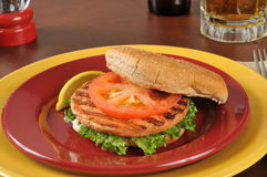 Zalmhamburger royalty-vrije stock afbeeldingen