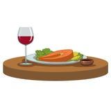 Zalmlapje vlees en een glas wijn Royalty-vrije Stock Foto
