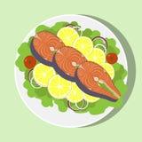 Zalmlapje vlees met met citroen, kruiden, tomaat, ui op witte plaat, hoogste mening Vector vlakke illustratie stock illustratie