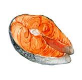 Zalmlapje vlees op wit, waterverfillustratie wordt geïsoleerd die royalty-vrije illustratie