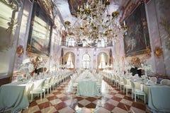 Zalzburg, Österreich - 19. Dezember 2015: HOTEL SCHLOSS LEOPOLDSKRON Stockfotografie