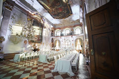 Zalzburg Austria, Grudzień, - 19, 2015: HOTEL SCHLOSS LEOPOLDSKRON Obraz Stock