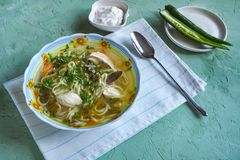 Zama, romanian and moldavian chicken soup with noodle. Traditional hangover soup. stock images