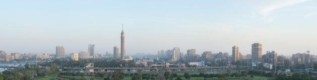 Zamalek全景在黄昏 免版税库存照片