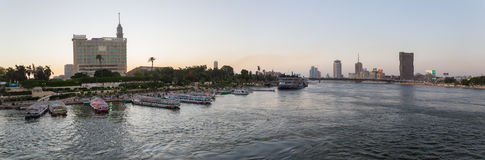 Zamalek全景海岛和党的小船 图库摄影