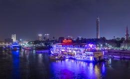 Zamalek i Nil rzeka przy nocą Zdjęcia Royalty Free