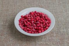 Zamarznięci cranberries w białym talerzu na kawałku burlap Zdjęcia Royalty Free