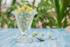 Zamarznięci jagoda agresty w pucharze szkło na rocznika stole Obrazy Stock