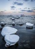 Zamarznięci kamienie przy wschodem słońca Zdjęcie Royalty Free