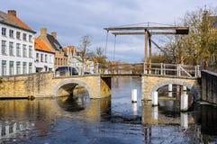 Zamarznięci kanały w Bruges, Belgia Zdjęcie Stock