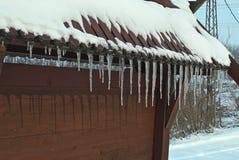 Zamarznięci lodowi kryształy wiesza od dachu wierzchołka Zdjęcia Royalty Free